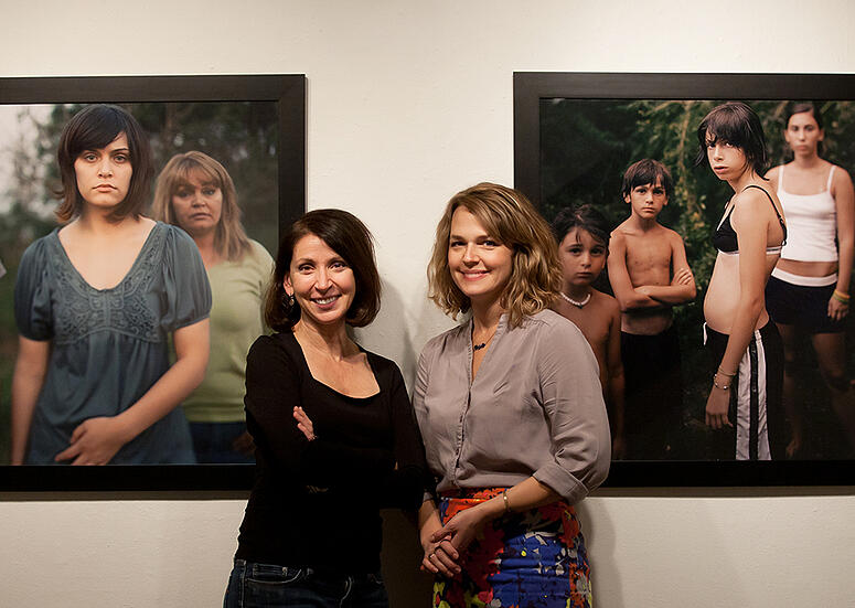 Mosiac_Project_artist_and_photographer_Lydia_Panas_with_PCA26D_gallery_director_Heidi_Leitzke_shown_right