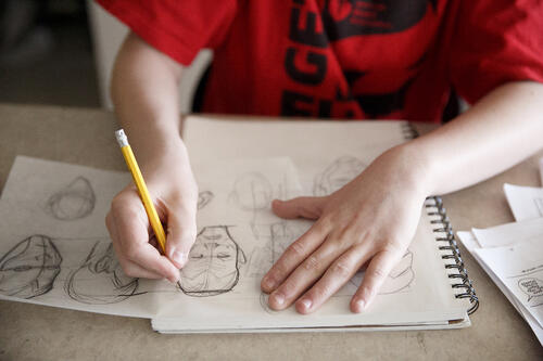 Image of Pre-college student drawing