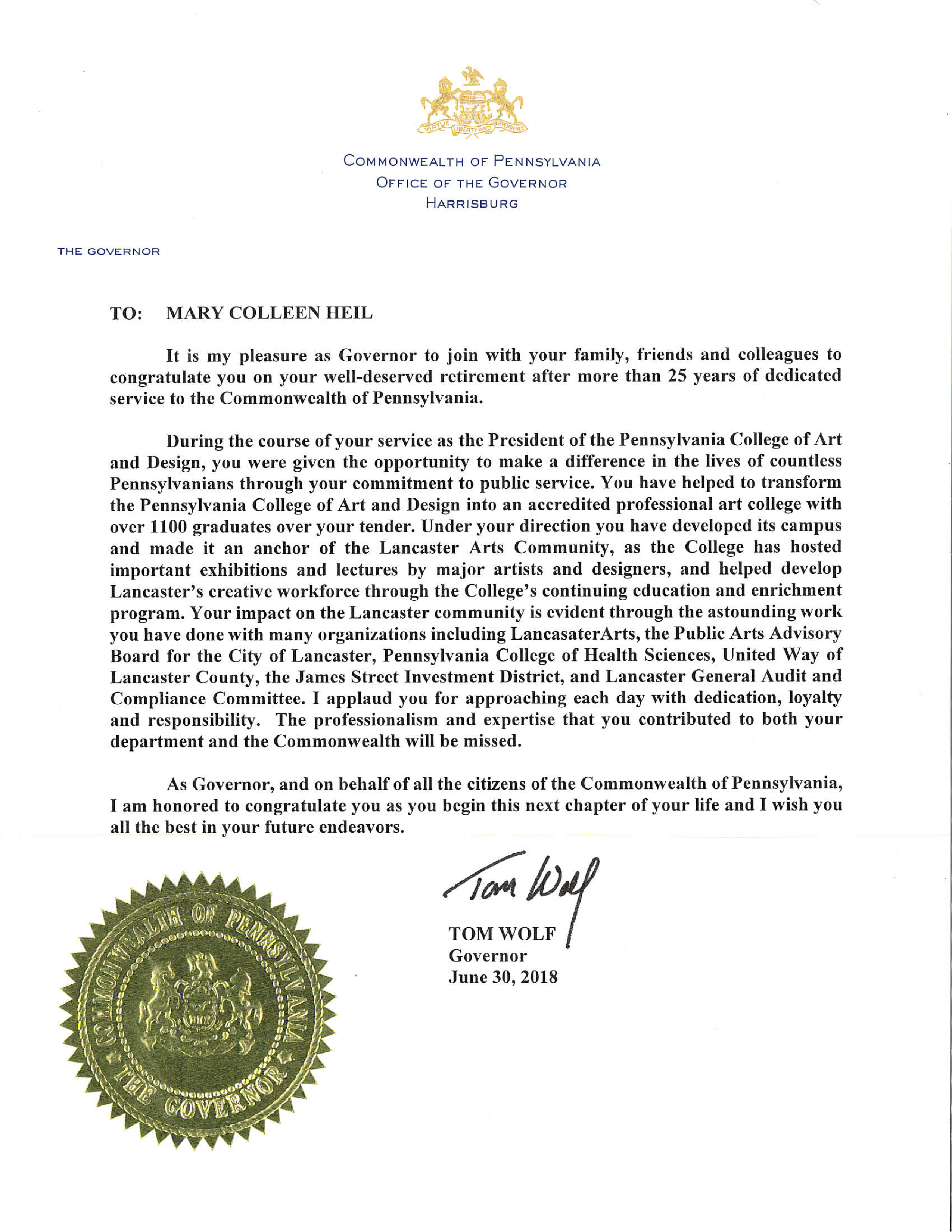 MCH Proclamation from Gov Wolf